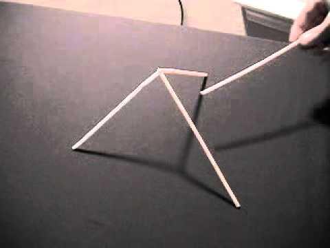 Как поднять три соломинки стоящие пирамидой