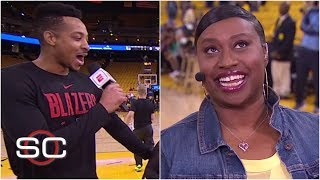 'I'm trying Jennifer!': CJ McCollum surprises the woman behind the meme on live TV | SportsCenter