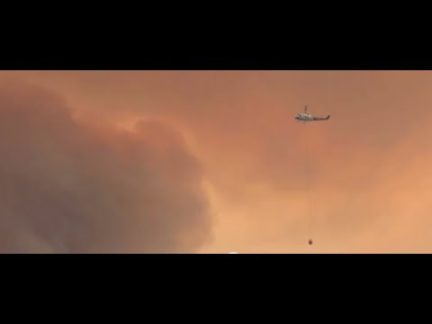 Close Up HD Helicopter footage, Springs Wildfire California.