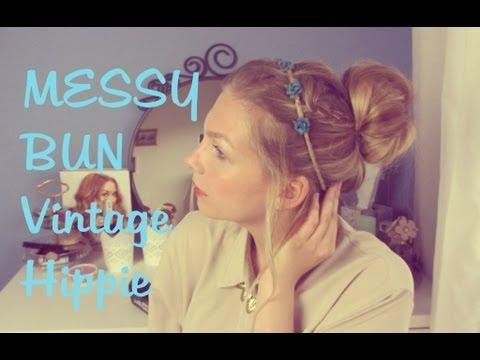MESSY BUN Hair Tutorial - Vintage Hippie Look | Fancy Friday - YouTube