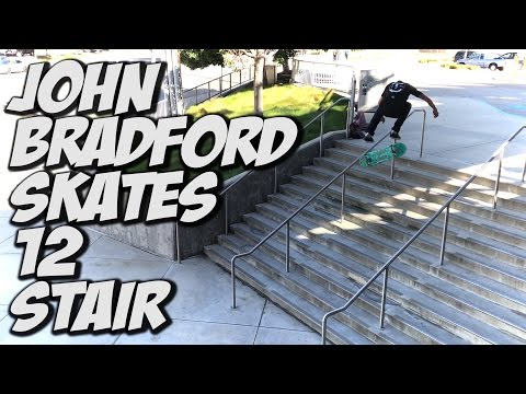 JOHN BRADFORD BATTLES A 12 STAIR SKATEBOARDING !!! - A DAY WITH NKA