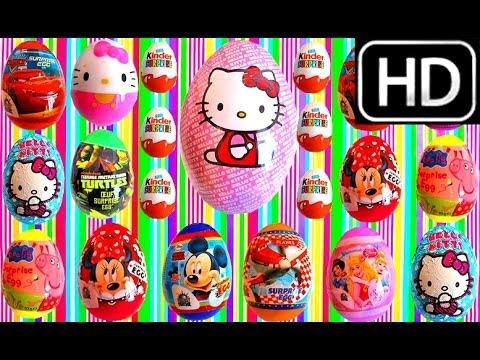 50 Kinder Surprise Eggs. Hello kitty. Cars 3. Monsters. Spongebob. Pixar. Mickey Mouse . Peppa Pig