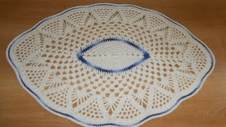 Tapete de Barbante em Croche Oval Azul e Natural parte 1  - crochet rug - alfombra de ganchillo