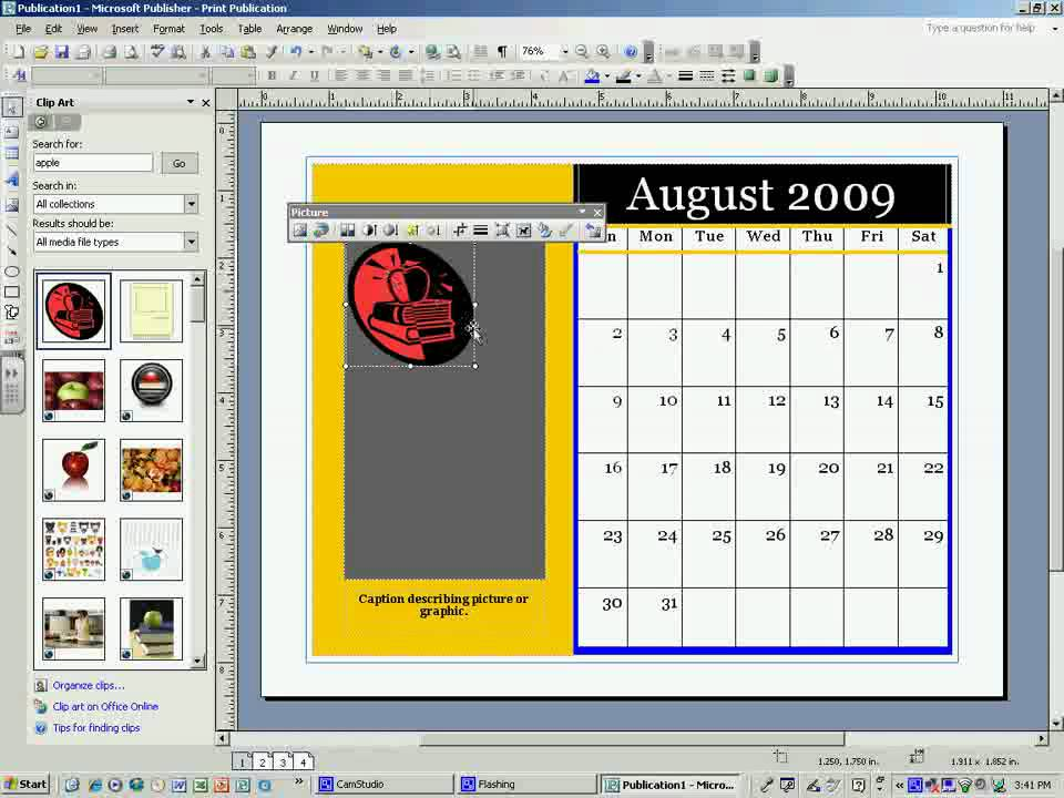 Microsoft Publisher Calendar Tutorial A Brooks - YouTube