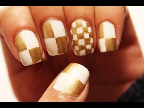 Gold Checkered Nail Art