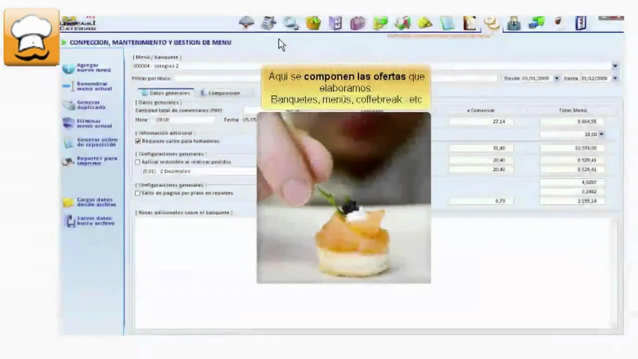 Software para catering hosteleria menus recetas for Programa para hacer cocinas