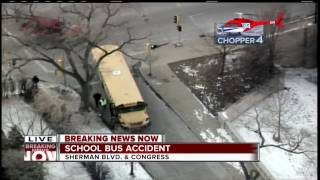 9 injured in Milwaukee school bus crash