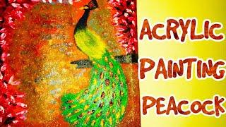 ACRYLIC PAINTING PEACOCK DIY