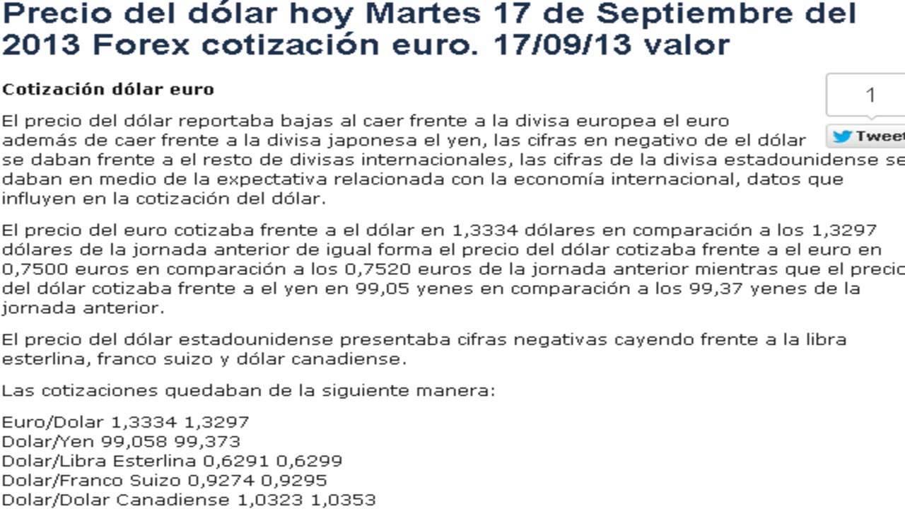 Precio del Dólar Euro Yen hoy Martes 17 de Septiembre del 2013 - YouTube