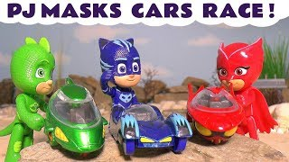 PJ Masks Cars Race with the funny Funlings and Hot Wheels Spiderman and Batman - Kids Toy story TT4U