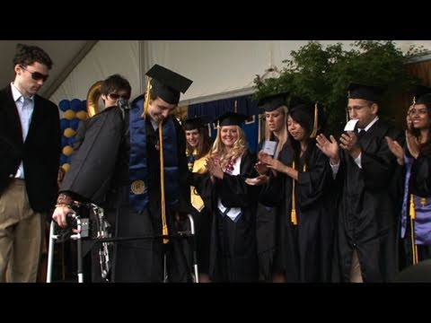 "Austin Whitney, a UC Berkeley student who was paralyzed in an auto accident four years ago, walked across the stage at his commencement ceremony using the ""A..."