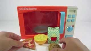 Just Like Home Microwave Oven Toy Playset Pretend Play Food Kitchen Toys for Children