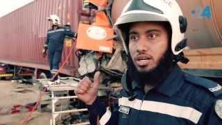 هاب ريح (8): كيف سحبت شرطة دبي رجلاً علق بين شاحنتين