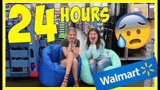 24 HOURS OVERNIGHT CHALLENGE IN WALMART DOG FOOD FORT || Taylor and Vanessa