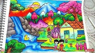 Cara Menggambar dan Mewarnai Pemandangan Air Terjun dan Rumah dengan Gradasi Warna Oil Pastel