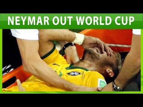 Neymar injury by Zuniga action go out of World Cup 2014 in Brazil-Colombia