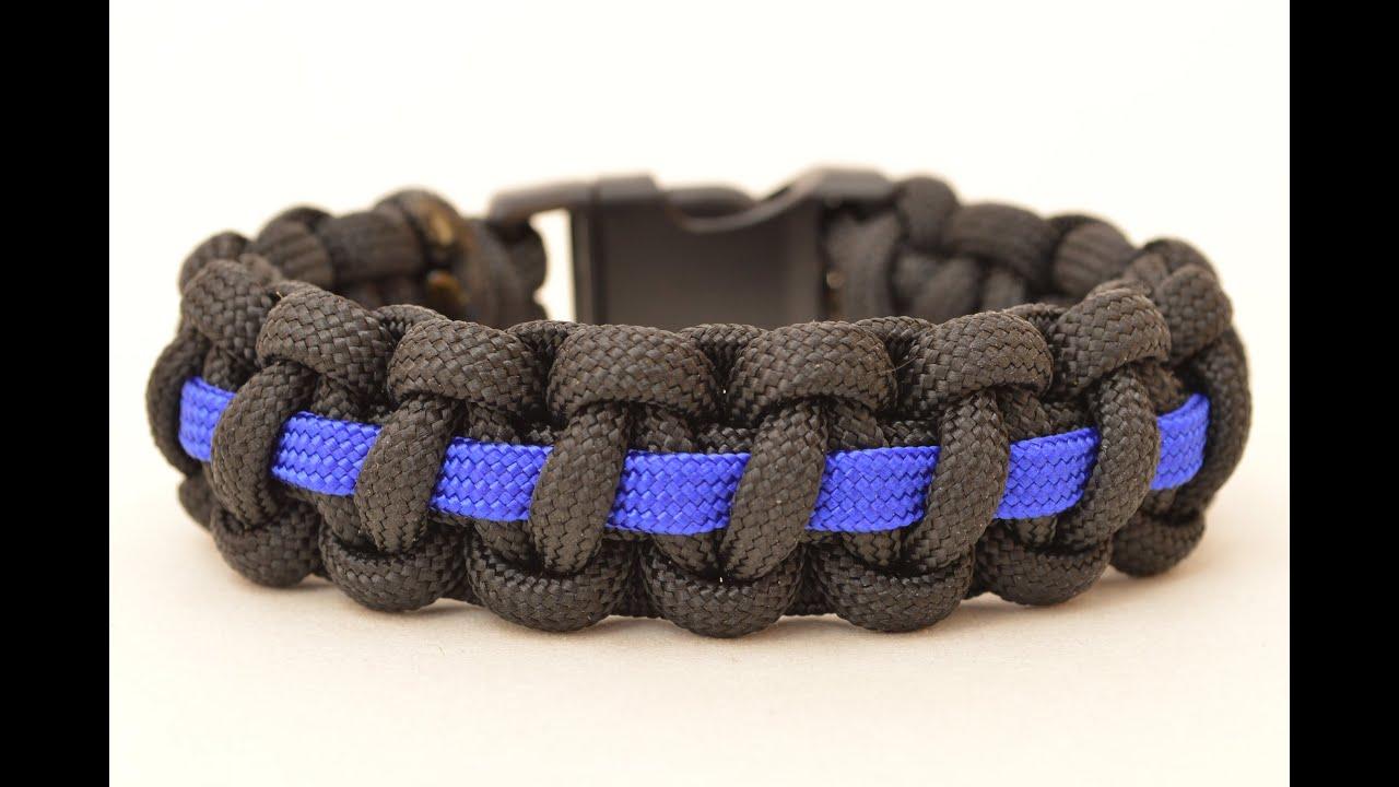 make a police thin blue line paracord survival bracelet. Black Bedroom Furniture Sets. Home Design Ideas