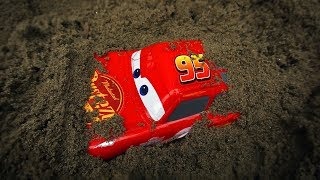 Cars Toys Play: Lightning McQueen, Fine Toys Construction Vehicles Under The Sand | Toys For Kids