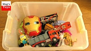 Box of Toys: Cars, Trucks, Action Figures, Animals and more