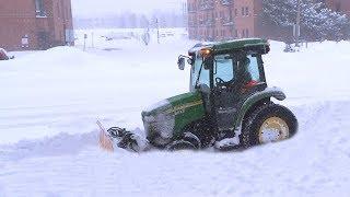 Montreal Snow Storm - Snow Plow Tractor Stuck in Snowbank