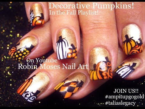 FALL Nail Art | Gold Nails With Pumpkins Nail Design Tutorial | Go Gold!