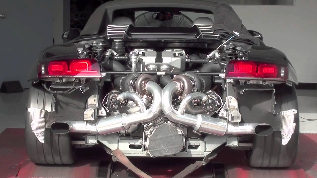 Heffner Twin Turbo 2012 V10 Audi R8 Spider Dyno Run Mov