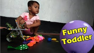 Funny Toddler Playing with Balloons Learn Color & Baby Game Show