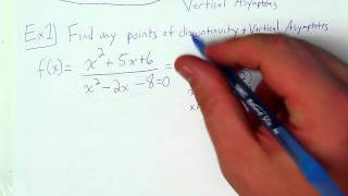 Rational Functions: Finding Points of Discontinuity (Holes) and Vertical Asymptoes