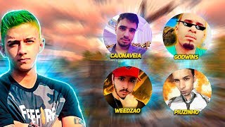 Crusher Fooxi VS Weedzao VS GodWins VS Piuzinho VS CaioNaVeia - FREE FIRE