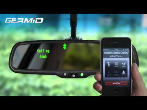 EK 043LAB Bluetooth rearview mirror monitor back up camera can support iphone HTC Samsung