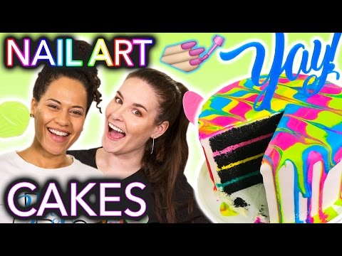 HELP Nail Artist In the Kitchen | Nail Art Designs on Cakes ft. How To Cake It