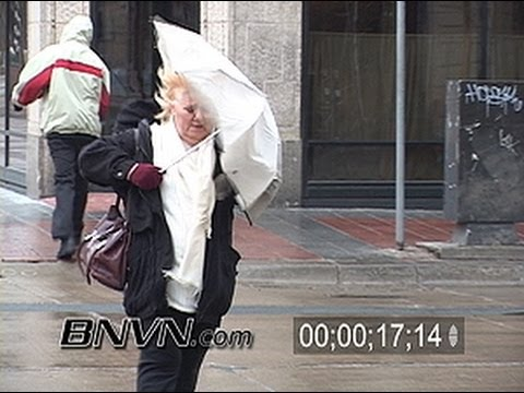 3/10/2004 News B-Roll footage of people in freezing rain in Minneapolis, MN