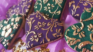 Gold Embroidered Stencil Cookies   Royal Icing   The Cake Lady™
