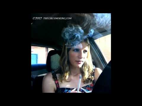 girl smoking virginia slim 120s hands free front view - thegirlsmoking