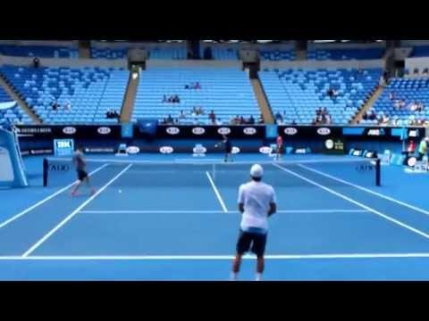 Andy Murray Hitting with Ben Mitchell AO 2015