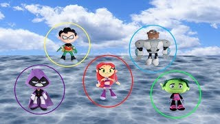 Teen Titans Go! Robin, Starfire, Raven, Beast Boy, Cyborg Float at Sea