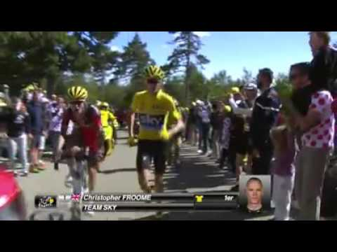 Christopher Froome a pie al final de la etapa. Video: Le Tour de France