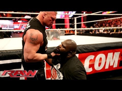 Brock Lesnar Brawls With Mark Henry: Raw, March 3, 2014 video