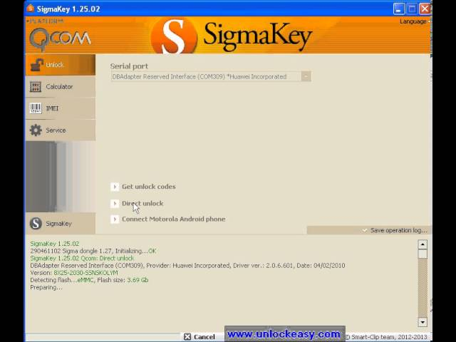 Unlock Orange Daytona con Sigma Key 1.25.02 - unlockeasy.com