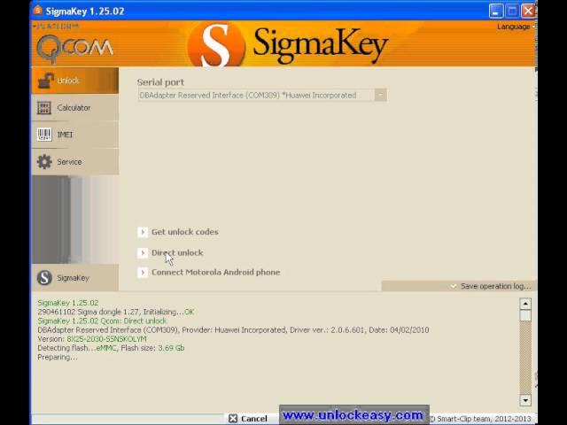 Unlock Orange Daytona con Sigma Key 1.25.02 - unlockeasy.com
