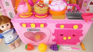 Baby doll magic kitchen cooking food play Doli house