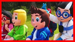 PJ Masks In Real Life and Paw Patrol Back to School Classroom Challenge Video Compilation