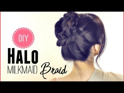 ★HAIR TUTORIAL   EVERYDAY HALO MILKMAID BRAID FOR MEDIUM LONG HAIR   SCHOOL HAIRSTYLES UPDOS   PROM