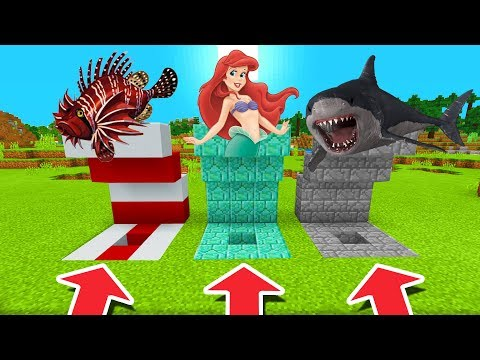 Minecraft PE : DO NOT CHOOSE THE WRONG HOLE! (LionFish, Mermaid & Megalodon)