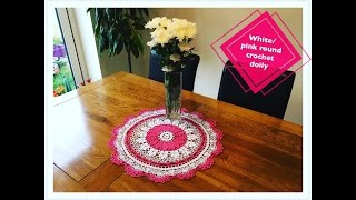 How to crochet white:pink round doily Part 2 of 2