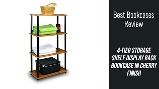 Bookcase Review - 4-Tier Storage Shelf Display Rack Bookcase in Cherry Finish