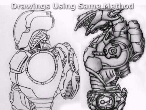 Robot Sketch Drawing Drawing a Robotic Leg Part