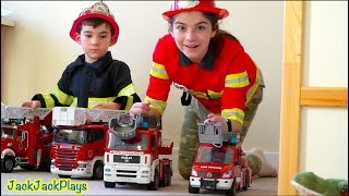 BEST Firefighter Costume Pretend Play of 2019 with Fire Truck Collection