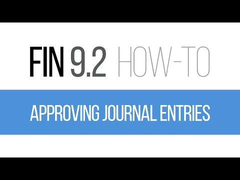 FIN 9.2 How-To: Approving Journal Entries