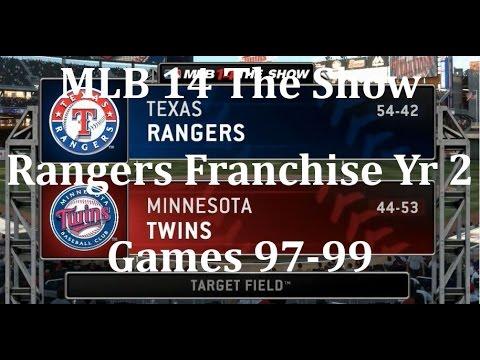 MLB 14 The Show (PS4) Texas Rangers Franchise Yr 2 - gms 97-99 vs Minnesota Twins
